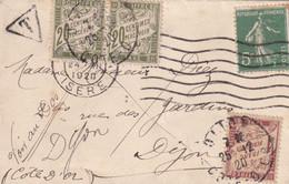 TAXE AMENDE 1F - TOUTE PREMIERE DATE DU N°40 - 25/12/1920 - Lettres Taxées