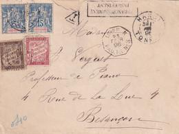 ORIGINE INDOCHINE - 1896 - Lettres Taxées
