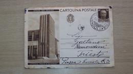 STORIA POSTALE CARTOLINA INTERO POSTALE OPERE DEL REGIME LITTORIA POSTE E TELEGRAFI - Marcophilia