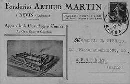 REVIN -- Fonderies Arthur MARTIN - Belle Carte Publicitaire - Recto / Verso - Revin