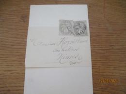 2 Timbre Blanc Lettre  Commerciale Villers Bretonneux Delaux Chatel - 1877-1920: Periodo Semi Moderno