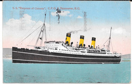 """Cpa S.S. """"EMPRESS Of CANADA """" / C.P.O.S. Vancouver , B.C. - Paquebote"""