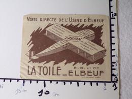"""G10/ Publicité Papier (fripée) La Toile """"L'avion"""" Elbeuf - Advertising"""