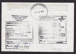Belgium: Cover To Brazil, 2005, 2 Stamps, Maigret, Simenon, COOP, Returned, Retour Cancel (minor Damage: Fold) - Lettres & Documents