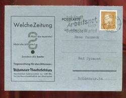 """Deutsches Reich / 1933 / Postkarte Zudruck """"Altonaer Nachrichten"""" Stempel """"Altona-Arbeitsnot ....."""" (4262) - Storia Postale"""