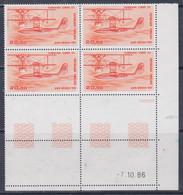 """France P.A. N° 58 XX 20 F. : Hydravion """"CAMS 53"""", En Bloc De 4 Coin Daté Du 7 . 10 . 86 ; 2 Traits, Sans Charn., TB - Poste Aérienne"""