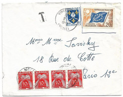 (C14) - Y&T N°1005 + SERVICE CONSEIL EUROPE N°18 -VINCENNES => PARIS + TAXE N°86 X4 1959 - Storia Postale