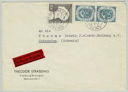 Deutsche Bundespost 1953, Brief Eilbote Freiburg - Schwanden (Schweiz), Posthorn - Lettres & Documents