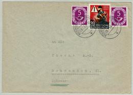 Deutsche Bundespost 1953, Brief Büsingen - Schwanden (Schweiz), Posthorn, Verkehrsunfälle - Lettres & Documents