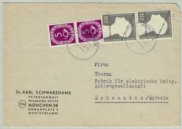 Deutsche Bundespost 1953, Brief München - Schwanden (Schweiz), Posthorn, Gefangene - Lettres & Documents
