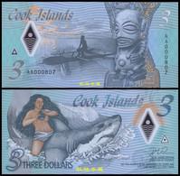 Cook Islands 3 Dollars, (2021), Polymer, Low Serial Number, UNC - Cook Islands