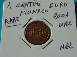 1 CENTIME EURO MONACO 2001 Unc  ( 2 Photos ) - Mónaco