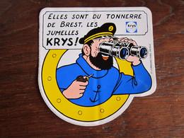 TINTIN AUTOCOLLANT JUMELLES KRYS HADDOCK HERGE - Tintin