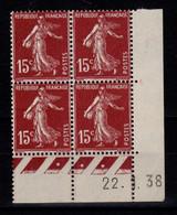 Coin Daté YV 189 N** Semeuse Du 22.1.38 , 3 Points - ....-1929