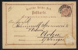 ALLEMAGNE 1871: CP Entier De 2p De Mannheim Pour Singen - Lettres & Documents