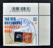 """Bund/BRD September 2021,Zuschlagsmarke """"Tag Der Briefmarke-Bordeaux-Brief"""", MiNr 3623, Ecke 2,  Ersttagsgestempelt - Gebruikt"""