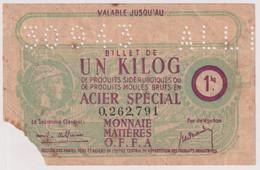 Billet De 1 Kilog. De Produits Sidérurgiques En Acier Spécial - Valable Jusqu'au 30/09/43 - Buoni & Necessità