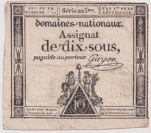 Assignat De Dix Sous / 10 Sous - Créé Le 24 Octobre 1792 - Série 225éme - Assignats