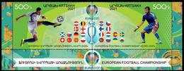 ARMENIA KARABAKH ARTSAKH 2021-06 Soccer Flags: EURO-2020. Bottom Pair PERFORATED, MNH - Fußball-Europameisterschaft (UEFA)