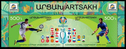 ARMENIA KARABAKH ARTSAKH 2021-06 Soccer Flags: EURO-2020. Top Pair PERFORATED, MNH - Fußball-Europameisterschaft (UEFA)