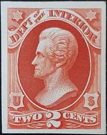USA 1873  Y&T Serv. 37 Essai Sur Papier Carton. 2 C, à L'usage Du Département De L'intérieur - Varietà, Errori & Curiosità