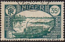 Niger Obl. N° 38A - Embarcation Indigène Sur Le Fleuve 35c Vert Foncé Et Vert - Nuevos