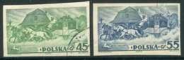 POLAND 1938 Warsaw Exhibition Singles Ex Imperforate Block Used.  Michel 327-28B - Usados