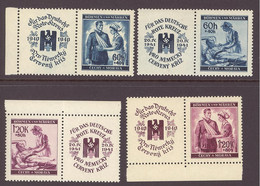 Germany, Bohemia And Moravia, 1941, Red Cross, MNH With Labels Mi53-54, Mi 62-63 - Unused Stamps