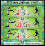 ARMENIA KARABAKH ARTSAKH 2021-06 Soccer Flags: EURO-2020. MINI-SHEET PERFORATED, MNH - Fußball-Europameisterschaft (UEFA)
