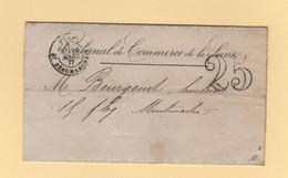 Paris - Bt Beaumarchais - 1877 - Utilisation Tardive De La Taxe 25 Double Trait - 1877-1920: Periodo Semi Moderno