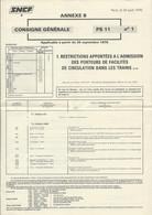 SNCF / CONSIGNE GENERALE PS11 N°1 26 SEPT 1976 HORAIRES CIRCULATION DANS LES TRAINS / 6 PAGES - Europa
