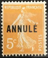 Cours D'instruction ANNULE YT 17 (*) MH Semeuse (158) 5c Orange (9 Euros) France – Cypres - Cours D'Instruction