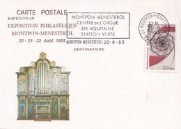 Montpon-Ménestérol - 24 - Expo. Philatélique 20/21/22 Août 1983 - Flamme Centre De L'Orgue En Aquitaine 20-8-83 - Annullamenti Meccanici (pubblicitari)