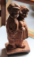 Sculpture ART DECO En Plâtre Patiné Couple D'enfants Estampillée BACCI La Rupture - Altri