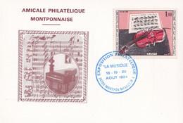 CP Philatélique - 24 - Montpon Ménestérol - Exposition - Cachet  La Musique 18/19/20 Août 1984 - Bolli Commemorativi