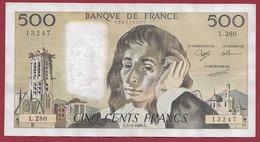 """France 500 Francs """"Pascal"""" Du 05/05/1988.C--ALPH.L.280 -- .dans L 'état (P.188) - 500 F 1968-1993 ''Pascal''"""