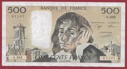 """France 500 Francs """"Pascal"""" Du 02/02/1989.K--ALPH.G.295 -- .dans L 'état (P.190) - 500 F 1968-1993 ''Pascal''"""