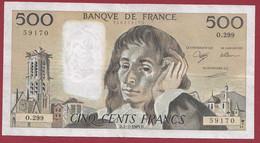 """France 500 Francs """"Pascal"""" Du 02/03/1989.D--ALPH.O.299 -- .dans L 'état (P.191) - 500 F 1968-1993 ''Pascal''"""