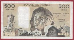 """France 500 Francs """"Pascal"""" Du 01/02/1990.J--ALPH.N.311 -- .dans L 'état (P.193) - 500 F 1968-1993 ''Pascal''"""