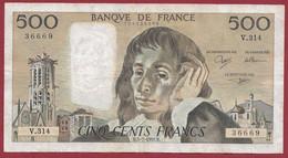 "France 500 Francs ""Pascal"" Du 05/07/1990.B--ALPH.V.314 -- .dans L 'état (P.195) - 500 F 1968-1993 ''Pascal''"