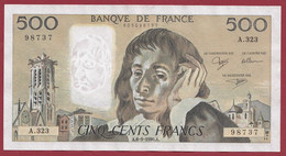 """France 500 Francs """"Pascal"""" Du 06/09/1990.A--ALPH.A.323 --BEAU BILLET 2 TROUS D EPINGLE .dans L 'état (P.196) - 500 F 1968-1993 ''Pascal''"""