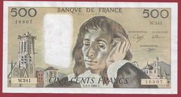 """France 500 Francs """"Pascal"""" Du 03/01/1991.N--ALPH.W341 --BEAU BILLET 2 TROU D EPINGLE .dans L 'état (P.197) - 500 F 1968-1993 ''Pascal''"""