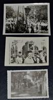 LOT OF 3 B/W PHOTOS 1956 CORFU KERKYRA FESTIVE PROCESSION OF SAINT SPYRIDON HOLY RELICS BISHOP PRIESTS ORTHODOX CHURCH - Unclassified