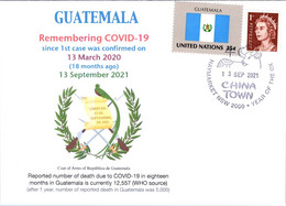 (1A42) 1st Case Of COVID-19 Reported To WHO In Guatemala (18 Month Ago 13-3-2020)(Guatemala TAG Flag Stamp) - Krankheiten