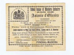 C11B 4) Portugal Publicidade Antiga Impresso Comercial ANTÓNIO D'OLIVEIRA Funchal Madeira Verga E Bordados - Portugal