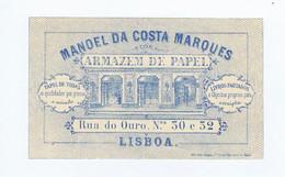 C11B 12) Portugal Publicidade Antiga Impresso Comercial MANOEL DA COSTA MARQUES Armazém De Papel Lisboa - Portugal