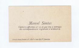 C11B 13) Portugal Publicidade Antiga Impresso Comercial MANOEL SIMÕES Carteiro Cartão De Boas Festas - Portugal