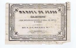 C11B 16) Portugal Publicidade Antiga Impresso Comercial MANOEL DE JESUS Caldeireiro Lamego - Portugal