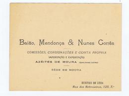 C11B 17) Portugal Publicidade Antiga Impresso Comercial BAIÃO, MENDONÇA & NUNES CORRÊA Azeites De Moura Lisboa - Portugal