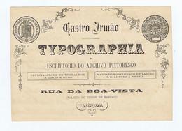 C11B 32) Portugal Publicidade Antiga Impresso Comercial CASTRO IRMÃO TYPOGRAFIA Escritório Archivo Pittoresco Lisboa - Portugal